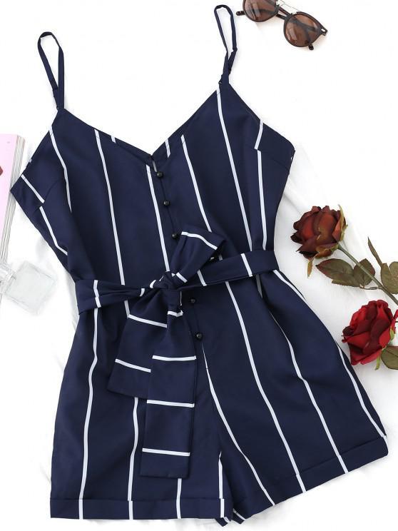 trendy Striped Belted Cami Romper - PURPLISH BLUE M