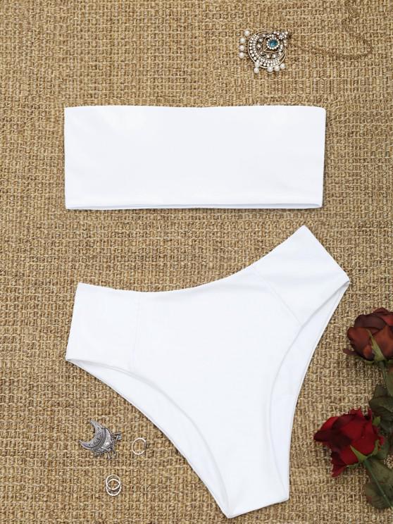 lady High Cut Bandeau Bathing Suit - WHITE L