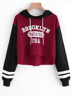Letter Graphic High Low Hoodie - Deep Red S