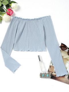 Piped Ribbed Off Shoulder Top - Light Blue S