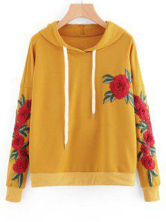 Floral Applikationen Kordelzug Hoodie - Ingwer-gelb L