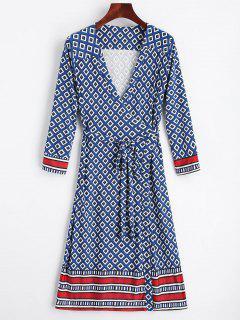 Robe Portefeuille Imprimée Géométrique - Bleu L