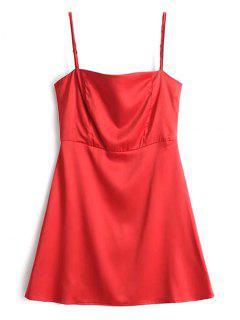 Vestido Mini Con Espalda Descubierta Y Satén - Rojo M