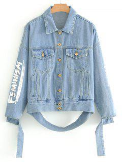 Letter Patched Button Up Denim Jacket - Denim Blue M
