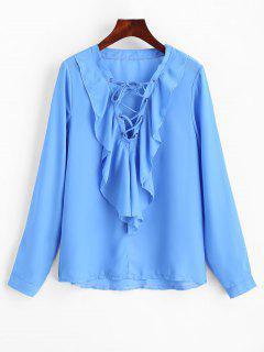 Ruffles Chiffon Lace Up Blouse - Blue L
