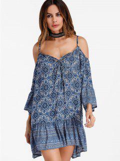 Printed Cold Shoulder Shift Mini Dress - Blue 2xl