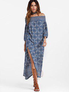 Robe Maxi Smockée Imprimée à Épaules Dénudées - Bleu M