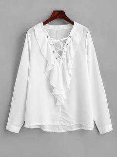 Ruffles Chiffon Lace Up Blouse - White M