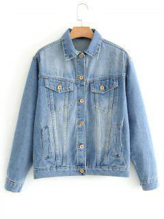 Denim Floral Embroidered Back Jacket - Denim Blue L
