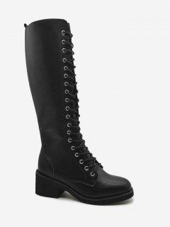 Tie Up Mid-Calf Boots - Black 38