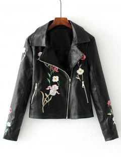 Faux Leather Floral Embroidered Biker Jacket - Black L