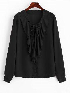 Ruffles Chiffon Lace Up Blouse - Black S