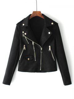 Zip Up Faux Suede Motorcycle Jacket - Black M