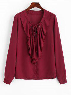 Ruffles Chiffon Lace Up Blouse - Wine Red L