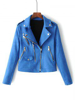 Zip Up Faux Suede Motorcycle Jacket - Blue M