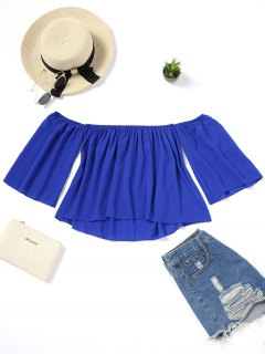 Loose Piped Off Shoulder Blouse - Blue M
