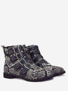Buckle Studded Snake Print Ankle Boots - Gray 43