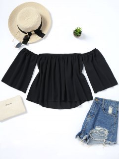 Loose Piped Off Shoulder Blouse - Black S