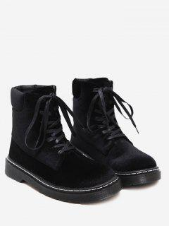 Stitching Lace Up Short Boots - Black 39