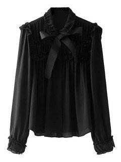 Button Down Bowknot Ruffles Shirt - Black M