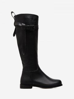 Buckle Strap Flat Heel PU Leather Mid Calf Boots - Black 38