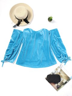 Samt Schulterfreie Bluse - Meeresblau Xl