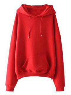 Drawstring Oversized Hoodie - Red S