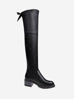 PU Leather Stacked Heel Over The Knee Boots - Black 39