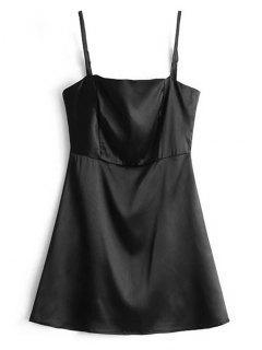 Mini Robe En Satin Avec Zip En Arrière - Noir L
