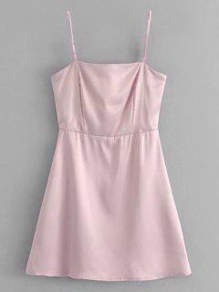 Back Zip Satin Slip Mini Dress - Pinkish Purple M