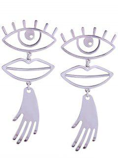 Hollow Out Eye And Lip Decorated Drop Earrings - Silver