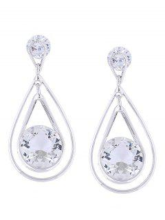Rhinestone Decoration Water Drop Earrings - Silver