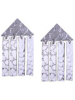 Funny Triangle Shape Decorated Flecos Pendientes - Plata