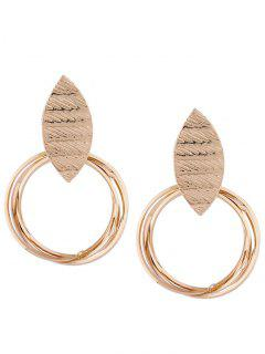 Metal Leaf And Rings Decorated Earrings - Golden