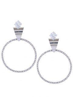 Reverso Triángulo Decorado Pendientes De Diamantes De Imitación - Plata