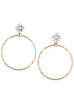 Metal Ring Decorated Rhinestone Earrings - Golden