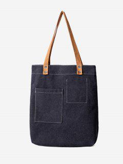Stitching Geometric Canvas Shoulder Bag - Black