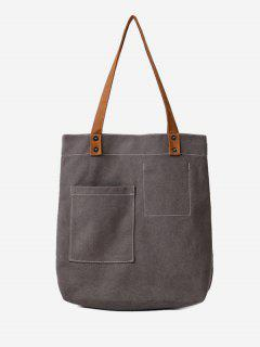 Stitching Geometric Canvas Shoulder Bag - Gray