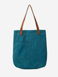 Stitching Geometric Canvas Shoulder Bag - Deep Green