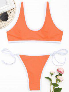 Kontrast-Trim-Tanga-Bikini-Set - Fluoreszierende Orange L