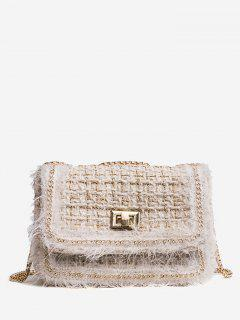 Chain Twist Lock Crossbody Bag - Beige