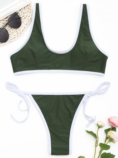 Contrast Trim Thong Bikini Set - Army Green M