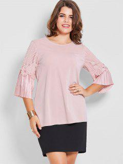 Plus Size Crochet Pleated Sleeve Top - Pink 2xl
