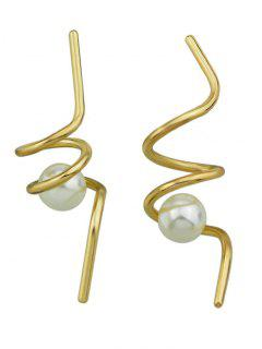 Faux Pearl Unique Spiral Earrings - Dorado