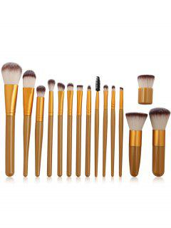 Set De Cepillo De Maquillaje De Fibra Sintética Ultra Suave De 15 Piezas - Dorado