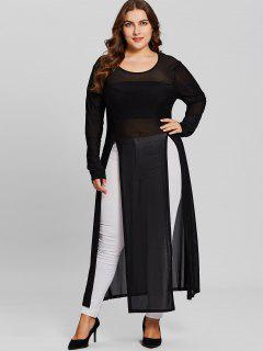 Longline High Slit Plus Size Sheer Top - Black 3xl