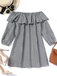 Plaid Ruffles Off Shoulder Mini Dress - Checked M