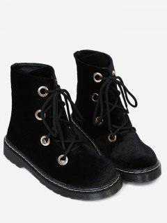 Flat Heel Velvet Ankle Boots - Black 39