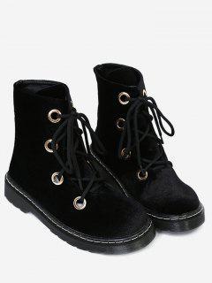 Flat Heel Velvet Ankle Boots - Black 40