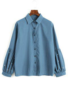 Button Down Faux Pearls Shirt - Lake Blue M